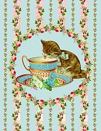 Tea cups, cats and roses card